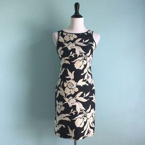 Ann Taylor Vintage Black & Cream Floral Silk Dress